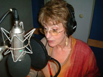 Maureen Lipman recording in studio